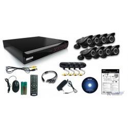 Содержимое комплекта видеонаблюдения: рекордер, камеры, кабель.